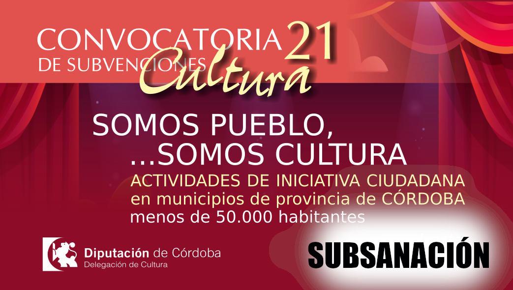 """Anuncio subsanaciones """"Somos pueblo, somos cultura"""""""